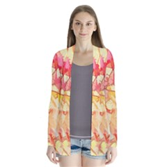 Monotype Art Pattern Leaves Colored Autumn Cardigans