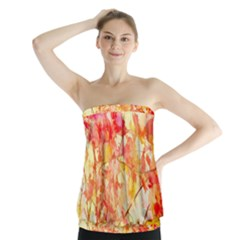 Monotype Art Pattern Leaves Colored Autumn Strapless Top