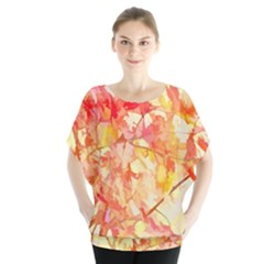 Monotype Art Pattern Leaves Colored Autumn Blouse