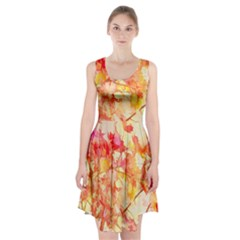 Monotype Art Pattern Leaves Colored Autumn Racerback Midi Dress