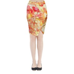 Monotype Art Pattern Leaves Colored Autumn Midi Wrap Pencil Skirt