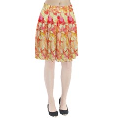 Monotype Art Pattern Leaves Colored Autumn Pleated Skirt
