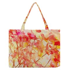 Monotype Art Pattern Leaves Colored Autumn Medium Zipper Tote Bag