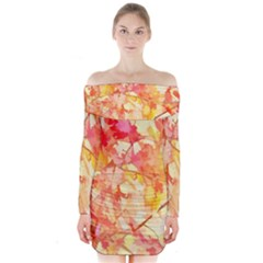 Monotype Art Pattern Leaves Colored Autumn Long Sleeve Off Shoulder Dress