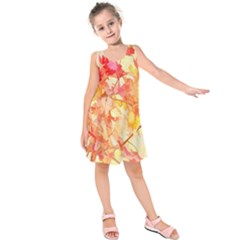 Monotype Art Pattern Leaves Colored Autumn Kids  Sleeveless Dress
