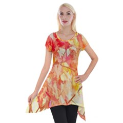 Monotype Art Pattern Leaves Colored Autumn Short Sleeve Side Drop Tunic
