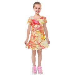 Monotype Art Pattern Leaves Colored Autumn Kids  Short Sleeve Velvet Dress