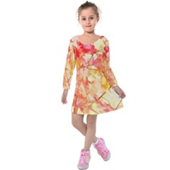 Monotype Art Pattern Leaves Colored Autumn Kids  Long Sleeve Velvet Dress