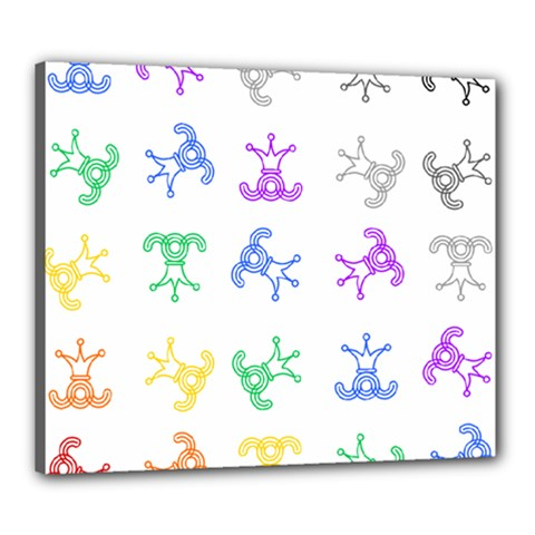 Rainbow Clown Pattern Canvas 24  X 20