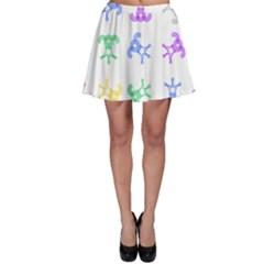 Rainbow Clown Pattern Skater Skirt