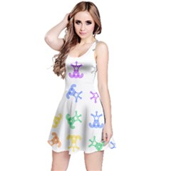 Rainbow Clown Pattern Reversible Sleeveless Dress