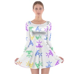 Rainbow Clown Pattern Long Sleeve Skater Dress