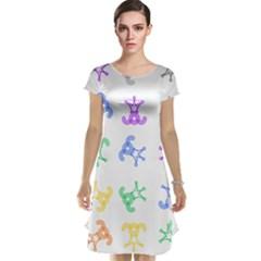 Rainbow Clown Pattern Cap Sleeve Nightdress
