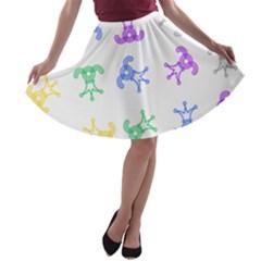 Rainbow Clown Pattern A-line Skater Skirt