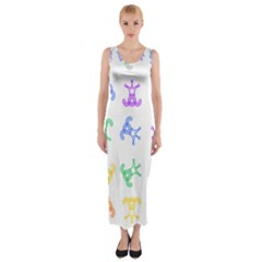 Rainbow Clown Pattern Fitted Maxi Dress