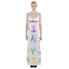 Rainbow Clown Pattern Maxi Thigh Split Dress