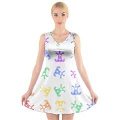 Rainbow Clown Pattern V Neck Sleeveless Skater Dress