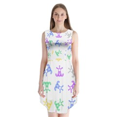Rainbow Clown Pattern Sleeveless Chiffon Dress