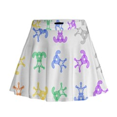 Rainbow Clown Pattern Mini Flare Skirt