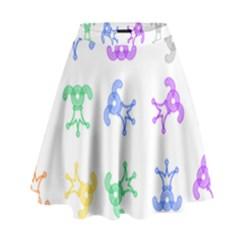 Rainbow Clown Pattern High Waist Skirt