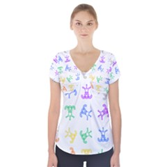 Rainbow Clown Pattern Short Sleeve Front Detail Top
