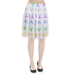 Rainbow Clown Pattern Pleated Skirt