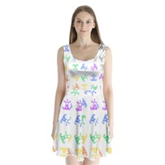 Rainbow Clown Pattern Split Back Mini Dress