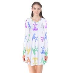 Rainbow Clown Pattern Flare Dress
