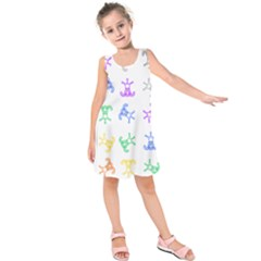 Rainbow Clown Pattern Kids  Sleeveless Dress