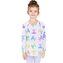 Rainbow Clown Pattern Kids  Long Sleeve Tee