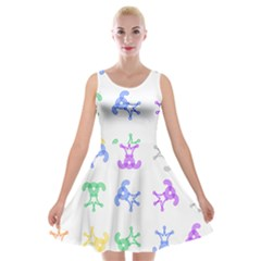 Rainbow Clown Pattern Velvet Skater Dress