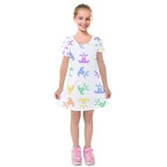 Rainbow Clown Pattern Kids  Short Sleeve Velvet Dress