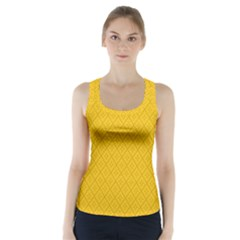 Yellow Flower Racer Back Sports Top
