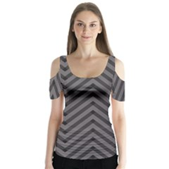 Background Gray Zig Zag Chevron Butterfly Sleeve Cutout Tee
