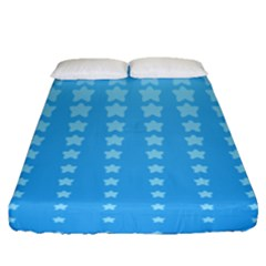 Blue Stars Background Fitted Sheet (queen Size)