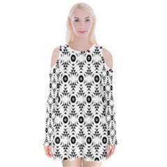Black White Flower Velvet Long Sleeve Shoulder Cutout Dress
