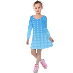 Blue Stars Background Line Kids  Long Sleeve Velvet Dress
