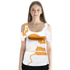 Brushing Teeth Mouse Orange Butterfly Sleeve Cutout Tee