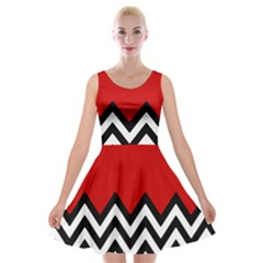 Chevron Red Velvet Skater Dress