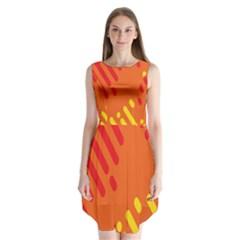 Color Minimalism Red Yellow Sleeveless Chiffon Dress