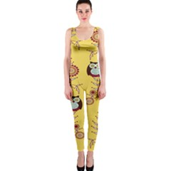 Cheery Owls Yellow Onepiece Catsuit