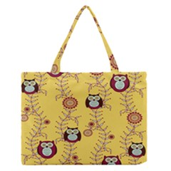 Cheery Owls Yellow Medium Zipper Tote Bag