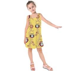 Cheery Owls Yellow Kids  Sleeveless Dress