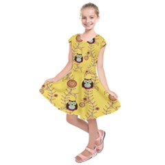 Cheery Owls Yellow Kids  Short Sleeve Dress
