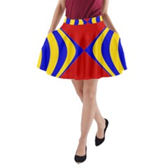 Concentric Hyperbolic Red Yellow Blue A Line Pocket Skirt