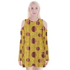 Dot Mustard Velvet Long Sleeve Shoulder Cutout Dress