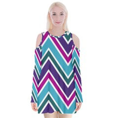Fetching Chevron White Blue Purple Green Colors Combinations Cream Pink Pretty Peach Gray Glitter Re Velvet Long Sleeve Shoulder Cutout Dress