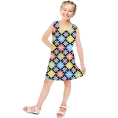Diamond Argyle Pattern Flower Kids  Tunic Dress