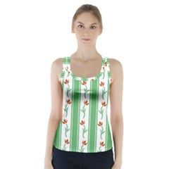 Flower Background Green Racer Back Sports Top