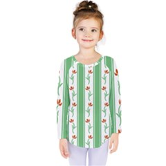 Flower Background Green Kids  Long Sleeve Tee
